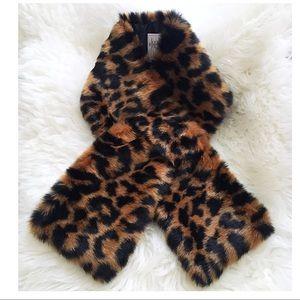 J. Crew Faux Fur Leopard Print Scarf